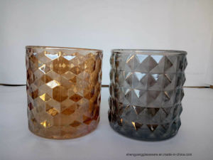 Wholesale Colorful Ion Plating Clear Glass Candle Holders pictures & photos