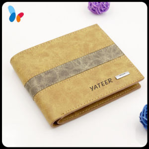 Leather Men Wallet Fashion Beige PU Leather Card Holder Wallet pictures & photos
