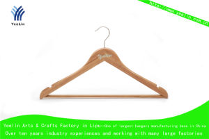 High Quality, Cheap Price and Regular Clothes Bamboo Hanger Ylbm3012h-Ntln1 for Supermarket, Wholesaler with Shiny Chrome Hook pictures & photos