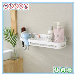 Suction Cup Hair Dryer Rack With Rectangular Shower Shelf