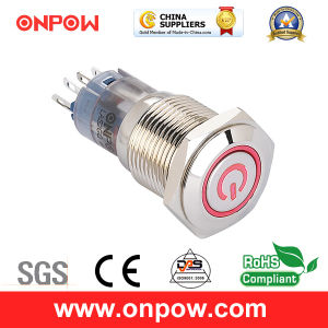 Onpow 16mm Illuminated Push Button Switch with Power Sign (LAS2GQF-11ET/R/12V/N, CE, CCC, RoHS) pictures & photos