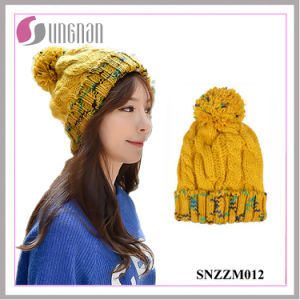 Rainbow Colored Warm Girls Wool Ball Plus Velvet Ear Hat pictures & photos