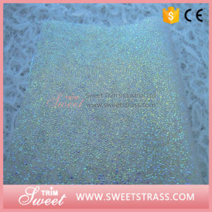 Light Sapphire Resin Crystal Sheet 24X40cm Iron-on Rhinestone Mesh pictures & photos
