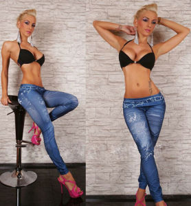 Womens Sexy Jeggings Basic Hight Waist Denim Print Jeans Leggings (15120) pictures & photos