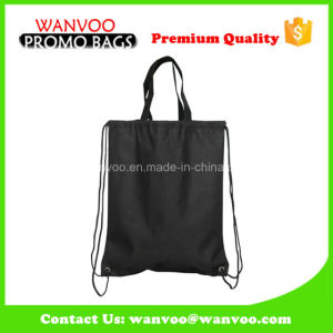 Reusuable Black Drawstring Poly Sport Backpack for Students pictures & photos