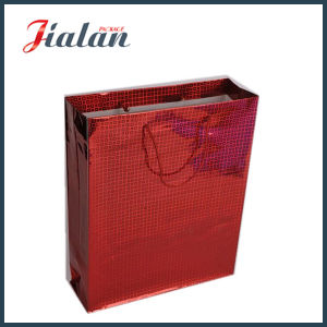 Custom Made Red Color Holographic Hand Shopping Gift Paper Bag pictures & photos