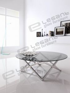 Round Coffee Table with Clear Glass Top pictures & photos