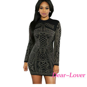 Fashion Black Studded Long Sleeves Dress pictures & photos