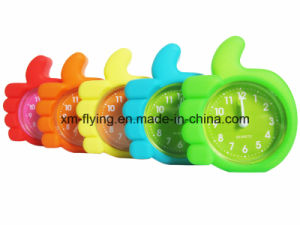 Creative Kid′s Unbreakable Thumb up Shape Silicone Mini Table Alarm Clock for Travel pictures & photos
