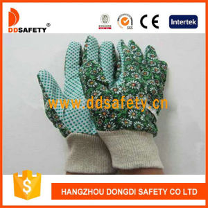 Ddsafety 2017 Flower Design Women′s Garden Gloves with Green Dots on Palm pictures & photos