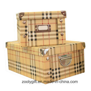 Popular Grid Paper Foldable Storage Box with Metal Handle pictures & photos