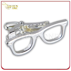 Glasses Shape Novel Design Custom Sliver Plated Metal Tie Clip pictures & photos