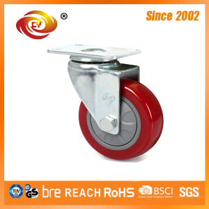 4 Inch Red PU Medium Duty Trolley Wheel