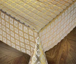 137cm PVC Gold Lace Tablecloths New Designs pictures & photos