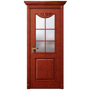 Oppein Glass Cherry Solid Wood Security Swing Door (MSGD12) pictures & photos