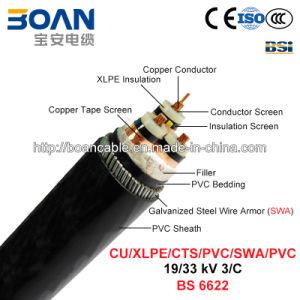 Cu/XLPE/Cts/PVC/Swa/PVC, Power Cable, 19/33 Kv, 3/C (BS 6622) pictures & photos