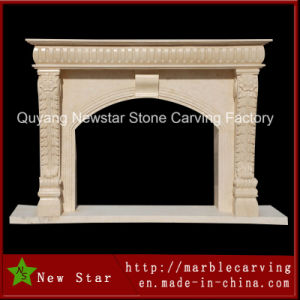Beige Marble Simple Fireplace Surround for Home Decoration pictures & photos