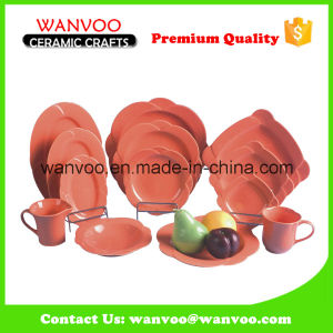 Wholesale Orange Color Glazed Dinnerware Set for Kitchen Banquet pictures & photos