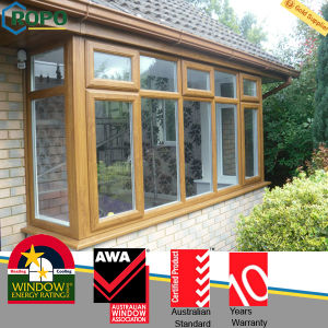 Golden Oak Color UPVC/Plastic Casement Window Grille Design pictures & photos