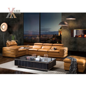 Yellow Leather Sofa with Corner (8233)