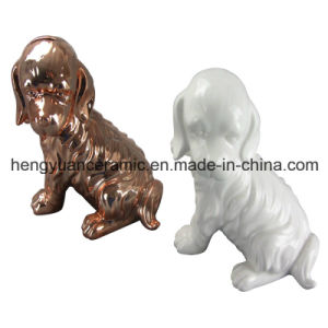 Animal Shaped Ceramic Craft, Dog Shape Coin Bank for Home Decor pictures & photos