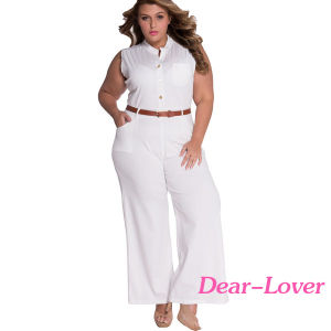 Fashion White Belted Wide Leg Plus Size Jumpsuit Romper pictures & photos