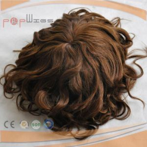 Dark Brown Color Mixed Blond Curly Human Hair Toupee pictures & photos