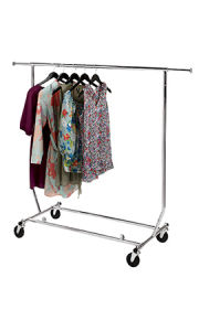 Collapsible Single Rail Salesman Rolling Rack - Chrome pictures & photos