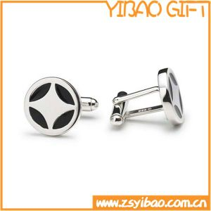 Round Shape Metal Cufflink with Silver Plated (YB-r-021) pictures & photos