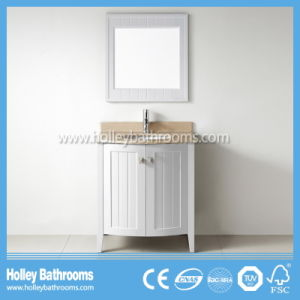 American Style Compact Solid Wood Bathroom Vanity with Mirror Cabinet (BV204W) pictures & photos