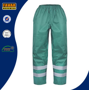 Green Polyester 300d Oxford with PU Coating Rain Pants Waterproof Pants