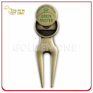 Custom Antique Brass Golf Repair Divot Tool with Ball Marker pictures & photos