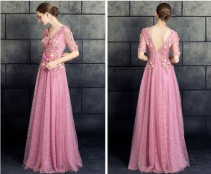 2017 Pink Prom Dress Lace Evening Party Gowns Ld11545 pictures & photos
