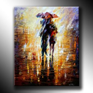 Abstract Paintings with Description of Painting Love in The Rain Textured Knife Oil Painting Handpainted