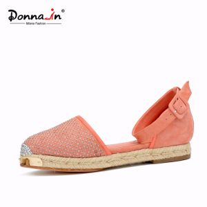 Lady Metal-Toe Rivet Suede Leather Casual Women Rope Flats Sandals