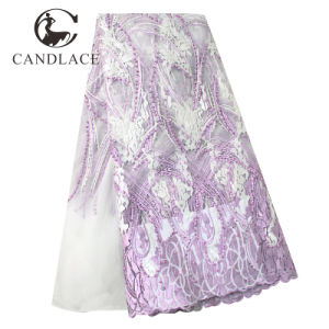 Lilac African Beaded French Tulle Lace Fabrics pictures & photos