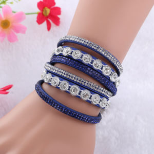 Fashion Rhinestone Crystal Multi Layer Faux Leather Bracelet Jewelry pictures & photos