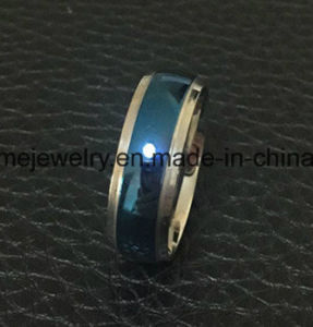 Shineme Jewelry Fashion Between Blue and Silver Titanium Ring (TR1918) pictures & photos