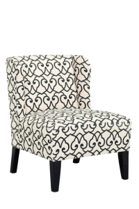 Flower Fabric Accent Chair with Wood Frame