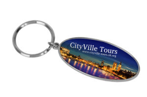 Promotional Laser Logo Oval Key Ring Metal Gift Keychain pictures & photos