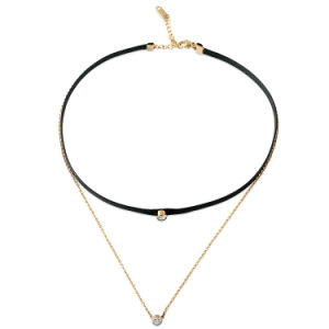 Stainless Steel Jewelry Fashion Women Leather Necklace Diamond Choker pictures & photos