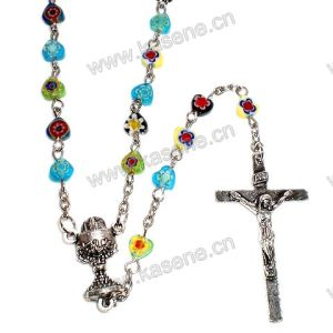 Mixed Colors Gemstone Heart Beads Religious Rosary Necklace pictures & photos