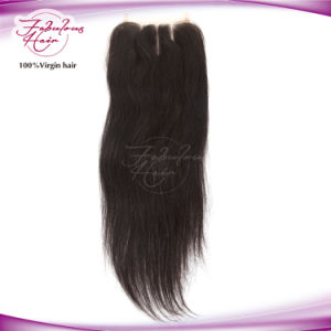 Top Quality Russian Human Hair 3parts Straight Lace Closure pictures & photos