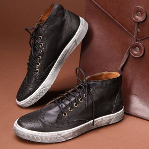 Men Flats Leather Shoes PU Leather Oxford Bullock Shoes (AKPX12) pictures & photos