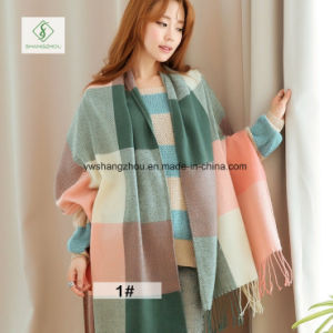 2017 High Quality Cashmere Plaid Shawl Fashion Acrylic Ladies Scarf pictures & photos