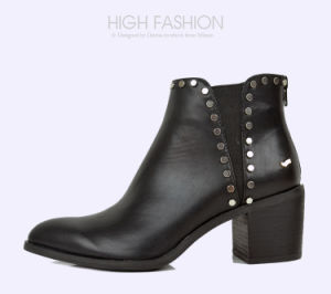 Women Pointed Toe High Heels Lady Casual Leather Rivet Shoes pictures & photos