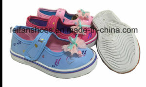 Beautiful Girl Children Velcro Injection Canvas Shoes Casual Shoes (0601-06) pictures & photos