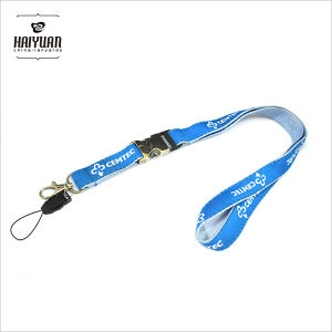 Custom Ribbon Woven Lanyard Sewing on Thickness Polyester Lanyard pictures & photos