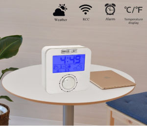 Radio Controlled Weather Station Alarm Clock with Blue LED Backlight & Rotary Button pictures & photos