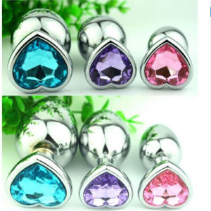 2016 New Heart Shaped Stainless Steel Crystal Jewelry Anal Plug Sex Toys Medium Size 34mm X 80mm GS0208 pictures & photos